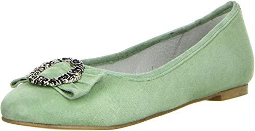 Vista Damen Trachtenschuhe Almhaferl Ballerinas grün, Größe:39, Farbe:Grün