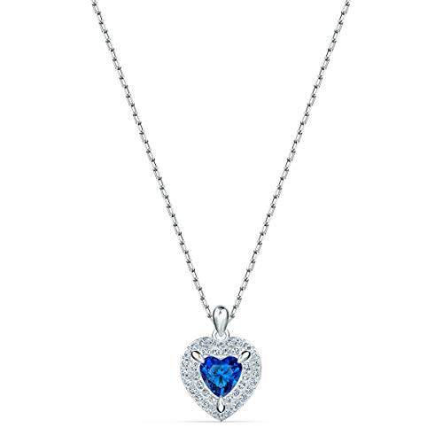 Swarovski 125th Anniversary Women's One Pendant Necklace, Heart-Shaped Necklace with Blue and Clear crystals on a Rhodium Plated Chain
