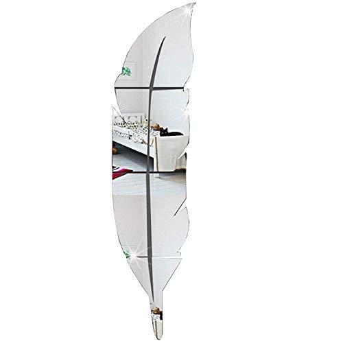 Pluma Brillante Etiqueta de La Pared Espejo, 3D Moderno Decorativo Espejo Extraíble Arte de la Pared para la Sala de Estar Dormitorio Oficina Decoración del Hogar 73x18 cm