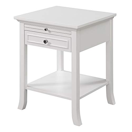 Convenience Concepts American Heritage Logan End Table with Drawer and Slide, White