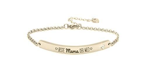 """Silvity Damen Gravur-Armband Edenlstahl veredelt mit einem Swarovski¨ Kristall 16,5 cm bis 20,5 cm Farbe: Gold (Motiv""""Beste Mama der Welt"""")"""