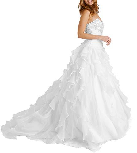 HUINI Brautkleider Hochzeitkleid Vintage Lang Tüll Prinzessin Brautkleid Brautmode Rückenfrei mit Schleppe Weiß 52