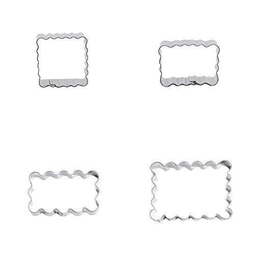 Juego de 4 moldes de metal para galletas ondulados, rectangulares, cuadrados, ondulados, para galletas, fondant, pan de jengibre