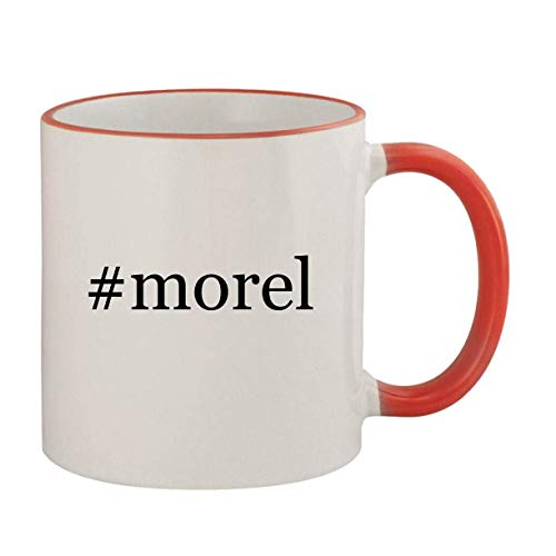 #morel - 11oz Ceramic Colored Rim & Handle Coffee Mug, Red