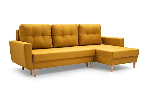 MOEBLO Sofa mit Schlaffunktion und Bettkasten, Couch für Wohnzimmer, Schlafsofa Federkern Sofagarnitur Polstersofa Wohnlandschaft mit Bettfunktion - Coral (Gelb, Ecksofa Rechts)