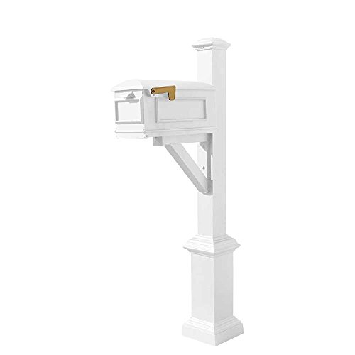 Qualarc WPD-SB1-S7-LMC-WHT Westhaven Cast Aluminum Post Mount System with Lewiston Mailbox, Square Base and Pyramid Finial, Ships in 2 Boxes, White