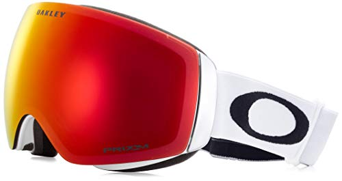 Oakley Skibrille Flight Deck SNOW XM, lens Prizm Jade Iridium (Matte White with black logo and white band), One Size, OO7064-23