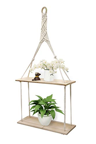 Afuly Wall Hanging Shelf With Rope Tapestry Macrame,Oak and White Wood Shelves for living Room Corner,Bedroom Boho Rustic Storage,2 Tier