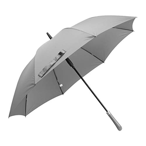 Cvthfyky Paraguas semiautomático de Color sólido con asa Grande, día Soleado, Lluvia, Doble Uso (Color : Gris)