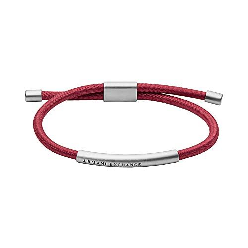 Armani Exchange Pulsera de identificación para hombre, de acero inoxidable en tono plateado, AXG0065040