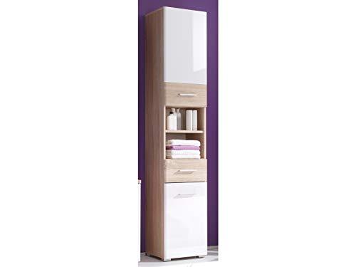 Hochschrank Standschrank Badschrank Seitenschrank Schrank Badmöbel Barnsley I Sonoma-Eiche/Weiß-Hochglanz