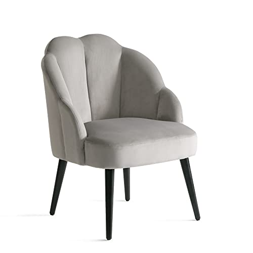 Samt Sessel mit Gebogenen Armlehnen Wohnzimmer Modern Relax Barock Stuhl für Schminktisch mit Rückenlehne Armlehnenstuhl Ohrensessel Polsterstuhl mit Armlehne Sessel Grau