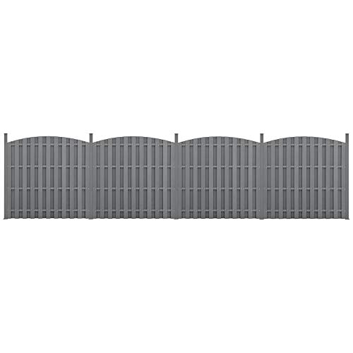 neu.holz] 2X WPC Gartenzaun mit Rundbogen und Pfosten 185x747cm Grau Sichtschutz Windschutz Lamellenzaun Zaun