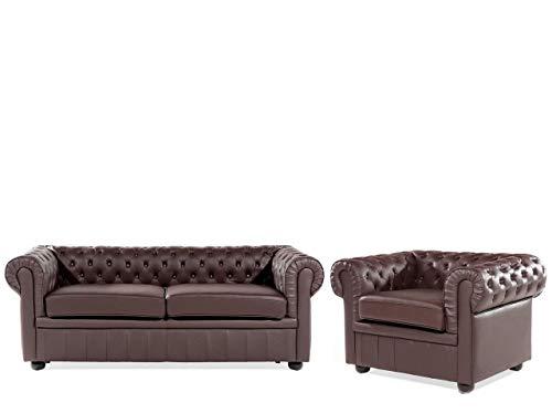 Beliani Klassisches Sofa mit Sessel in englischem Stiil Echtleder braun Chesterfield