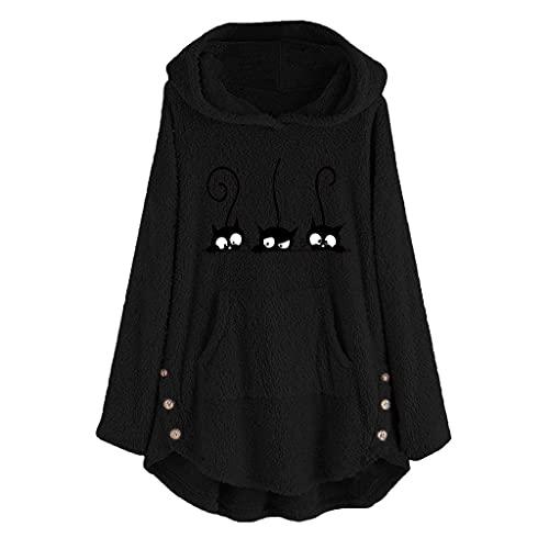 Y2k - Sudadera con capucha para mujer, de forro polar, de un solo color, con bordado de gato, para...
