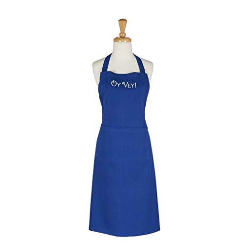 DII Design Imports Blue Hanukkah Oy Vey Embroidered Chefs Apron One Size