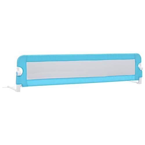 vidaXL Barrière de Sécurité de Lit Enfant Rail de Lit Pliable Barrière de Protection Bébé Chambre à Coucher Bleu 180x42 cm Polyester