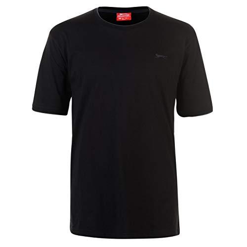 Slazenger Herren Tipped T Shirt Kurzarm Rundhals Tee Top Bekleidung Kleidung Schwarz XXXXL
