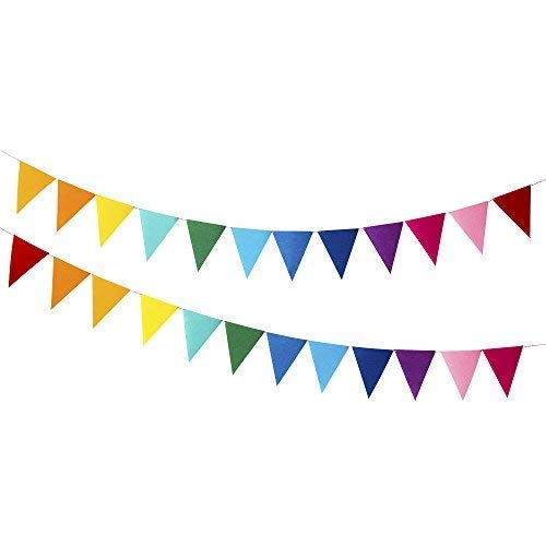 Every Cares Rainbow Felt Fabric Bunting, 24 Pcs/ 16.4 Feet(2 Pack) Decoration Banners for Birthday Party, Baby Shower, Window Decorations and Children's Play Room Decorations