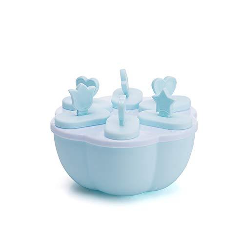 YWANG 2 Piezas Set Moldes para Helados Reutilizable Plastico Moldes de Polos de Helado Dibujos Animados Prueba de Fugas Moldes para Cubitos de Hielo para Niños, Adultos, Personas Mayores,Azul