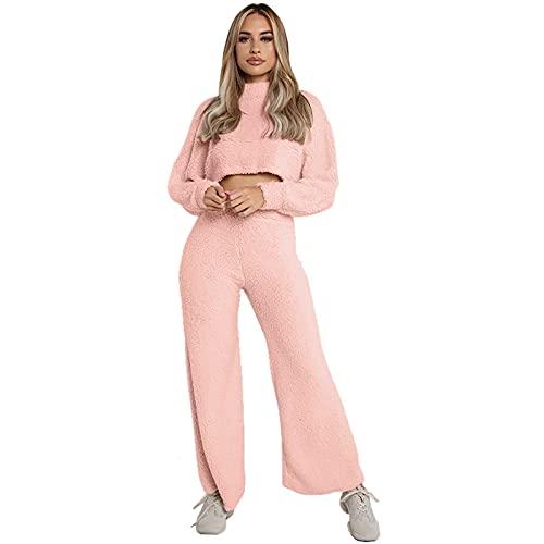 Conjunto casual de 2 piezas para mujer, conjunto de suéter, color sólido, cuello alto, manga larga, pantalones largos, trajes casuales, rosa, L