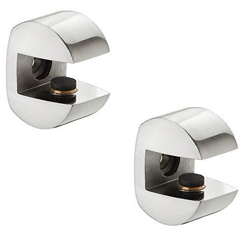 Gedotec DESIGN Glasbodenträger Tablarträger Glastablarträger Modell Gloria   Edelstahl Optik   Regalbodenträger für Holz und Glas   Fachbodenträger für Tablardicke 8-10 mm   2 Stück
