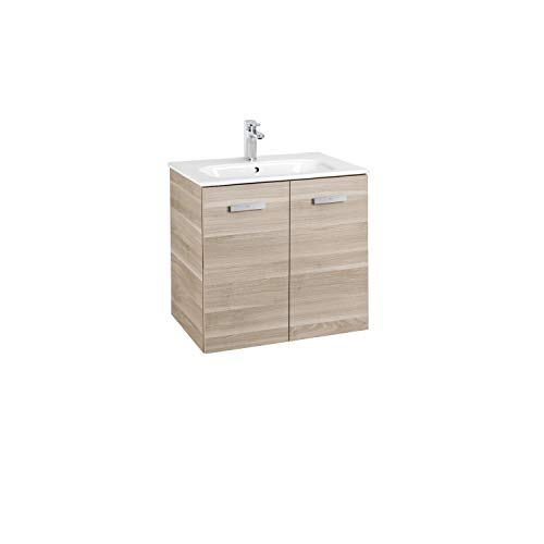 Lavabo + Mueble base 2 Puertas Unik Victoria Basic Roca, 60 x 46 x 56 centímetros, color abedul (Referencia: A855854422)