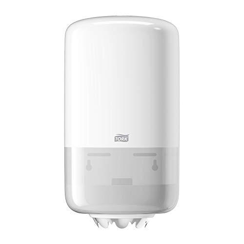 Tork 558000 Dispenser per asciugamani ad estrazione centrale Mini, sistema M1, 32,1 cm x 17,4 cm x 16,5 cm (altez. x largh. x profond.), Elevation design, colore bianco