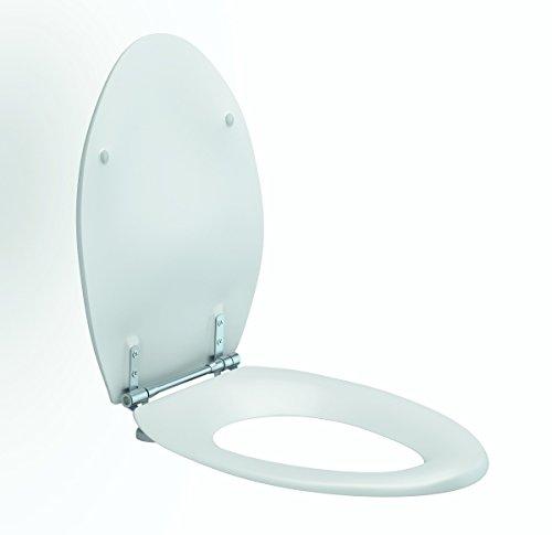 Pressalit R36000-D92999 Colani WC-Sitz weiß, Edelstahl Toiletten-Sitz mit Deckel und Spezialscharnier für Senioren, behindertengerecht (Belastbarkeit 250 kg)