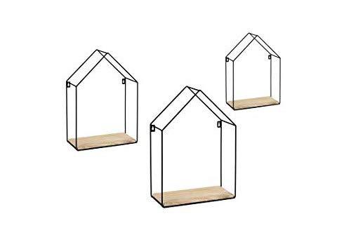 GICOS IMPORT EXPORT SRL Juego de 3 estantes para tablón de anuncios de metal negro con forma de casita de pared con estantes de madera Shabby Chic Industrial HEZ-773570