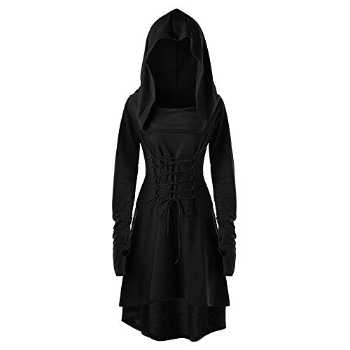 Zegeey Damen Frauen Asymmetrisch Breasted Hign Low Hem Lace UP Kapuzenmantel Kapuzen Robe Lace up Vintage Pullover Hohen Niedrigen Langen Hoodie Kleid Umhang Cosplay Karneval Fasching Fasnacht