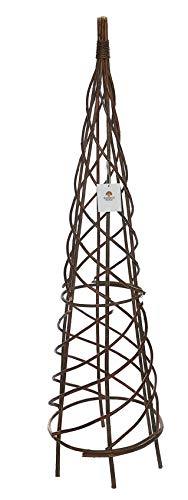 120cm Rustic Natural Willow Spiral Garden Obelisk Wicker Wood Climbing Plant Support Pyramid Frame