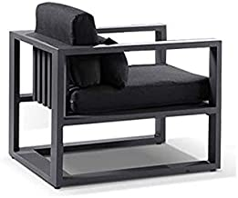 Santorini 1 Seater Outdoor Aluminium Arm Chair - Charcoal W/Denim, Charcoal with Denim - Outdoor Aluminium Lounges, Outdoo...