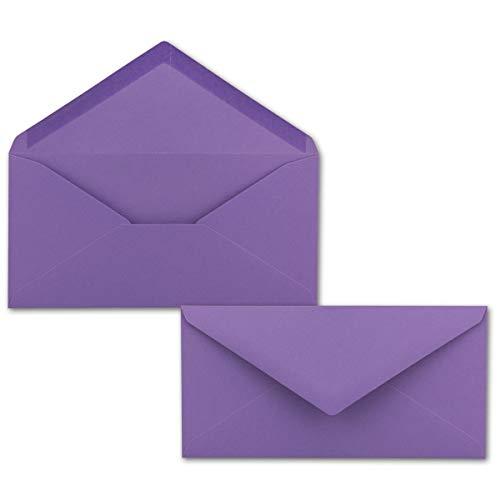 25 Brief-Umschläge Violett DIN Lang - 110 x 220 mm (11 x 22 cm) - Nassklebung ohne Fenster - Ideal für Einladungs-Karten - Serie FarbenFroh®