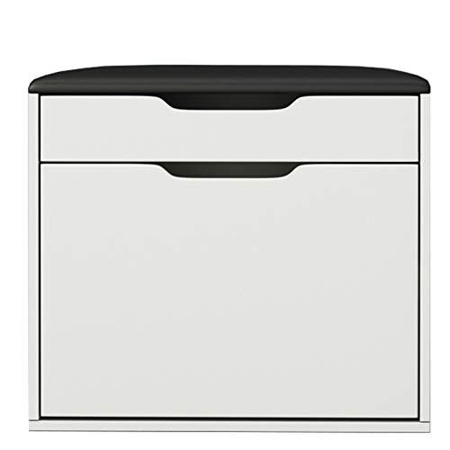WHOJA Zapatero Banco Zapatero Diseño de Almacenamiento abatible con cojín Caja de Almacenamiento Oculta Estante extraíble de Madera Maciza 2 Capa 60x29x45cm Estantería (Color : White)