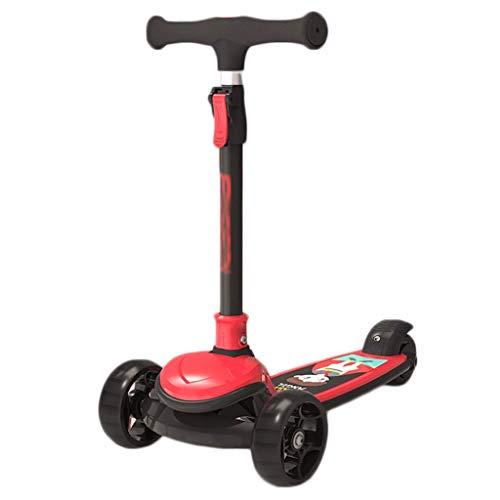 JCXT Scooter para niños, Scooter Anti-Rollover para niños pequeños y niños, 4 Altura, Magro para dirigir, Cubierta Extra Ancha (Color : Red)
