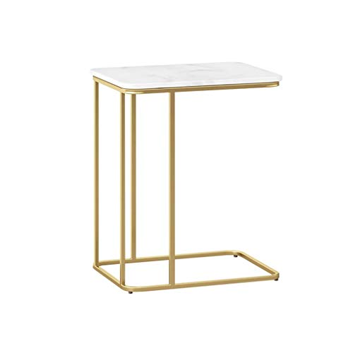 Marble Side Table, White Desktop Golden Smeedijzer Coffee Table Sales Department Appartement Living Room Corner End Table (Color : A, Size : 30 * 50 * 58CM)