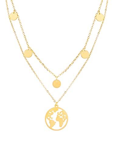 a little something® Halskette Noord | Damen Layer Kette mit 18 Karat Vergoldung (Gold & Roségold) | Inklusive nachhaltiger Geschenkverpackung mit FSC®-Zertifikat