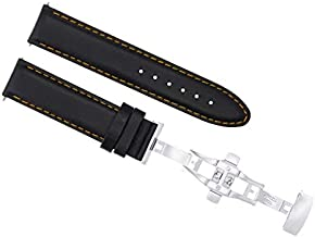 20mm Leather Strap Band Smooth Clasp Compatible with Baume Mercier Capeland 10000 Black Os