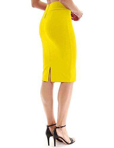 FAIMILORY Womens Stretch High Waisted Bodycon Office Pencil Skirt (M, Yellow)