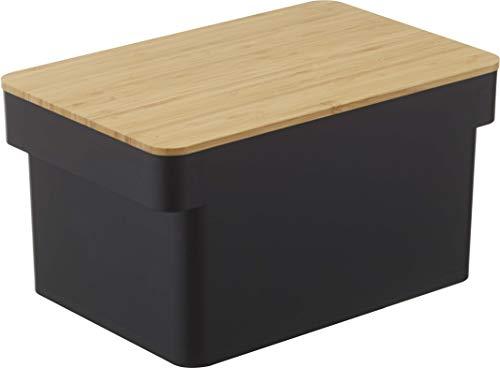 山崎実業(Yamazaki) ブレッドケース ブレッドナイフホルダー付 ブラック 約W35.5XD23XH18.2cm タワー 蓋がカッティングボードに 大容量 2斤 4947