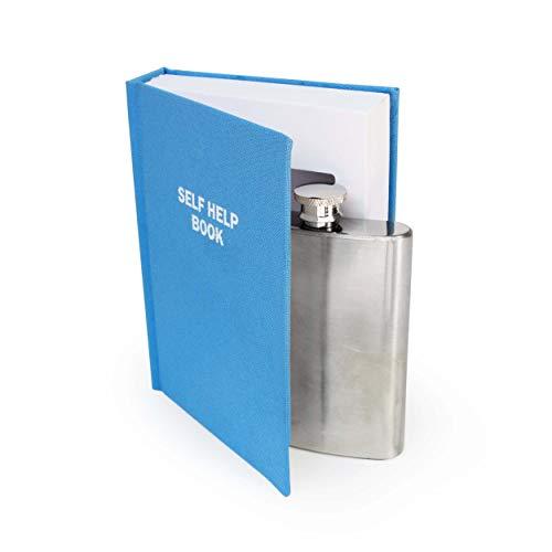 Suck UK B Secret Hip Women & Men | Small Smuggle Your Booze | Alcohol Flask | Self Help Book | 4 oz Stainless Steel Flas, Blue