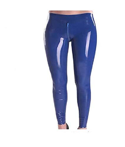 Fontoys-pants Damen Kunstleder Damen Gummi Hosen Latex Hosen Schritt Zipper Latex Legging-Blue_L