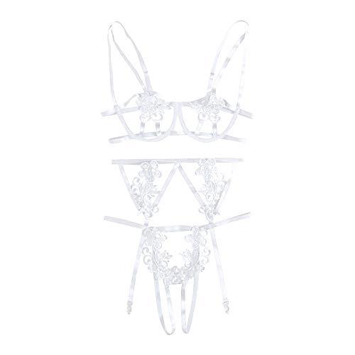 Amaeen Ropa Interior Mujer Sexy Conjuntos Eróticas Push Up Muy Transparente Mujeres Lencería Corsé Vendaje Hollow Underwire Lace Muselina Ropa de Dormir Seductora de Moda
