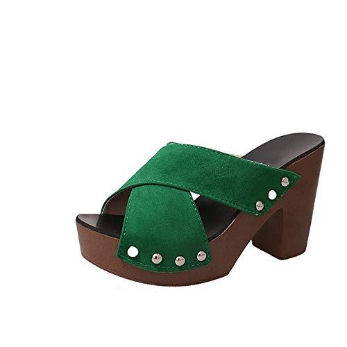 Sandalias Planas Elegantes Ocasionales de Verano,Sandalias de Plataforma de tacón Grueso para Mujer,Zapatillas de tacón Alto de Moda-Green_35,Chanclas de Adulto para Mujer