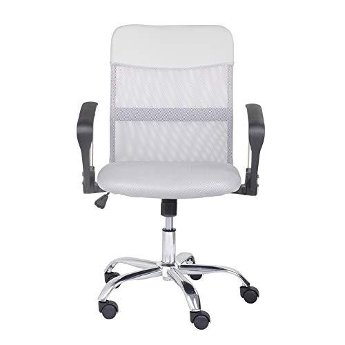 GOLDFAN Rollender Bürostuhl mit Armlehne PU Mittlerer Rücken Studienstuhl Höhenverstellbar Schreibtischstuhl mit Räder zum Zuhause und Büro, (Grau)