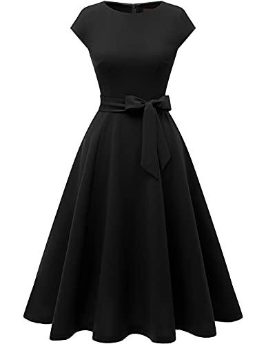 DRESSTELLS schwarzes Kleid Damen 1950er Vintage Retro Rockabilly Kleid Festliches Cocktailkleid Black S