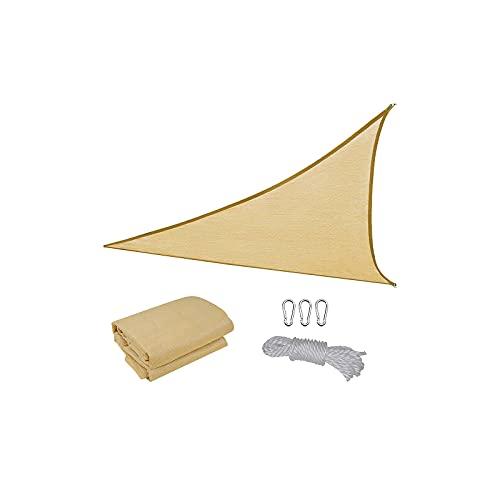 DEECOZY Toldo de vela triángulo beige con bloqueo UV, tela de malla para proteger los rayos UV, resistente al sol, para patio, arena, jardín y actividades en el patio