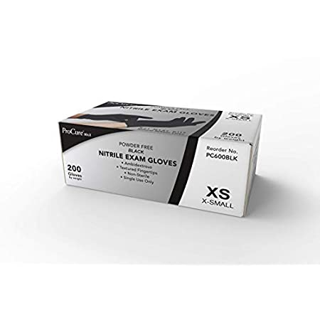 Corona Virus protection products Disposable Black Nitrile Gloves Medium, 200 Pack -Heavy Duty 4 Gram Thick -Powder