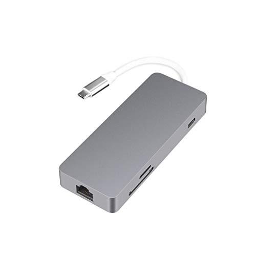 Binghotfire Hub USB Tipo C 7 en 1 con Puerto LAN Tipo C a HDMI Lector de Tarjetas TF HUB USB 3.0 Gris
